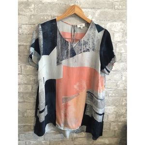 Aritzia Wilfred Abstract Silk Short Sleeve top